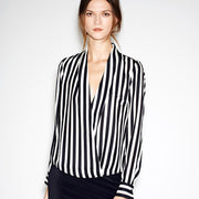 Striped Deep V-neck Long Sleeves Slim Chiffon Blouse - Meet Yours Fashion - 2