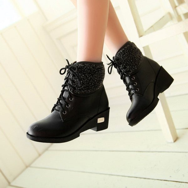 Cute Lace Up Chunky Heel Warm Short Boots – Meet Yours Fashion