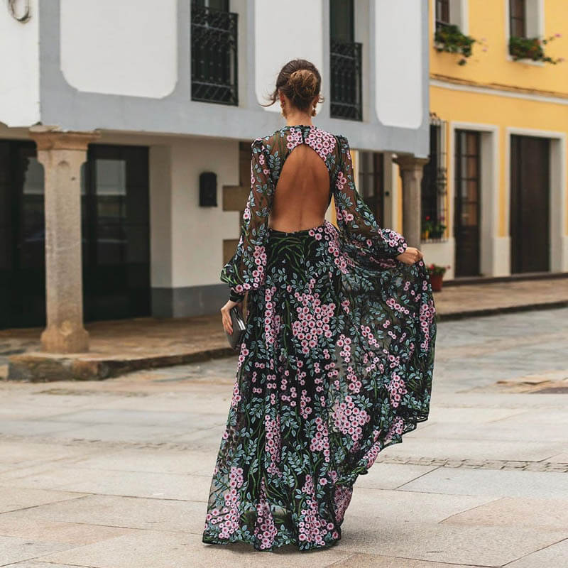 Floral Long Sleeve Backless Slim Maxi Dress