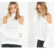 Bear Shoulder High Collar Hollow Pure Color Sexy Sweater - Meet Yours Fashion - 3