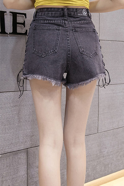 Denim High Waist Bandage Tassel Loose Shorts