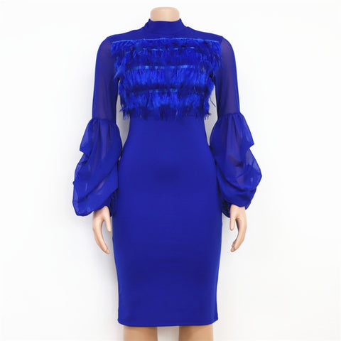 Faux Feather Long Lantern Sleeves High Waist Knee-length Dress