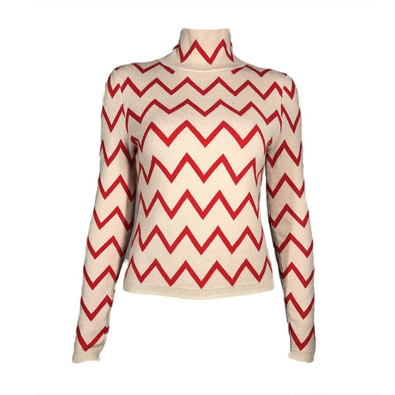 High Neck Wave Stripe Women Slim Sweater