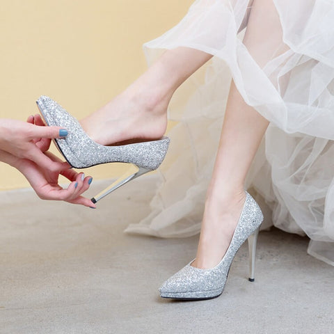 Wedding Sequin Point Toe Slip-On Pumps