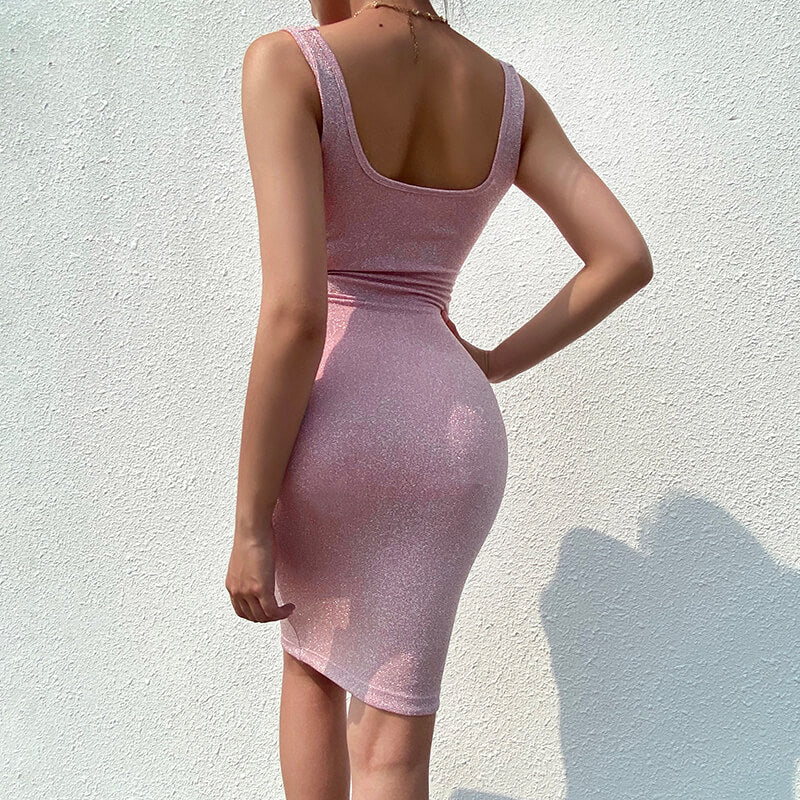 Pink Sequin Spaghetti Strap Backless Bodycon Dress