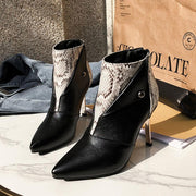Leather Snakeskin Point Toe Ankle Boots
