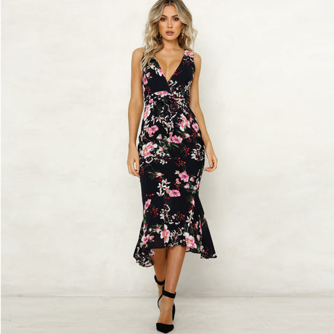 Spaghetti Straps Backless Print Bohemian Chiffon Long Dress
