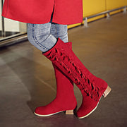 Round Head Tassels Chunky Heel High Boots