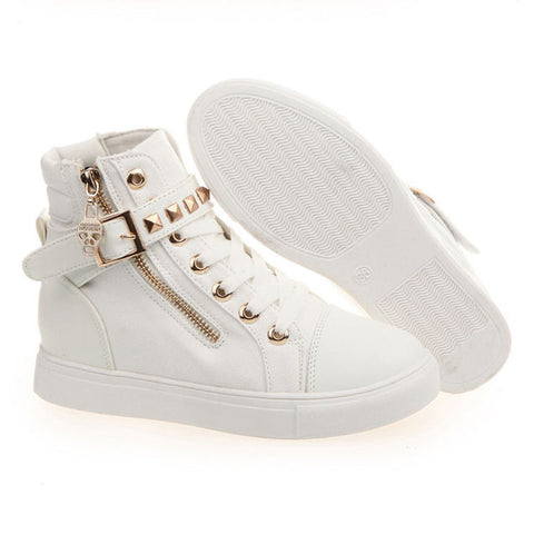 Fashion Skull Decorate Flat High Cut Women's Canvas Rivet Sneaker - MeetYoursFashion - 6