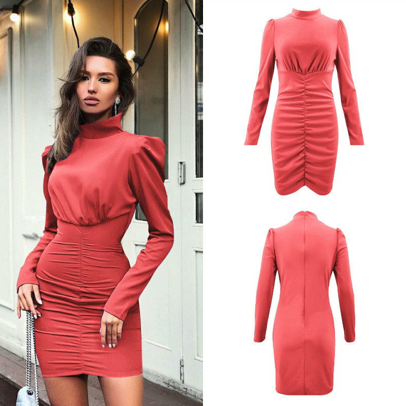 Turtleneck Empire Waist Ruched Dress