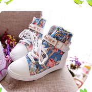Cute Floral Print Skull Lace Up High Cut Women Sneakers - MeetYoursFashion - 6