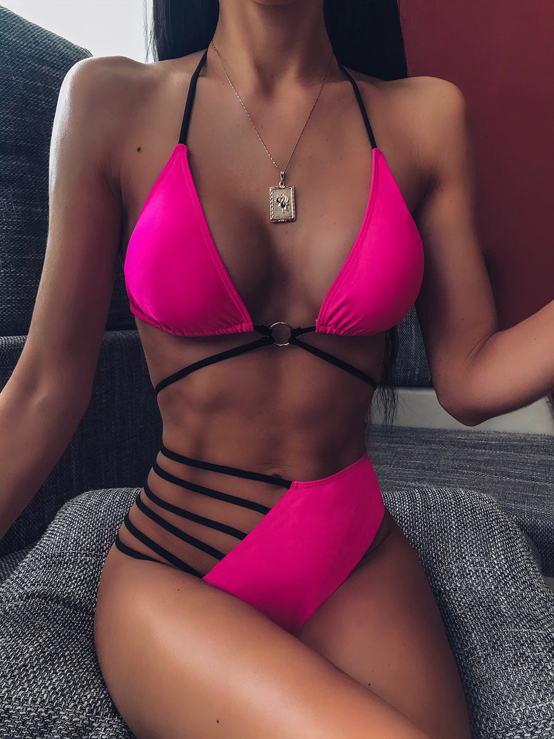 Bright Color Strappy Halter High Rise Thong Bottom Bikinis