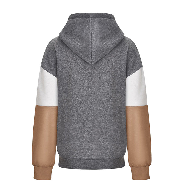 Colorblock Pullover Drawstring Patchwork Hoodies