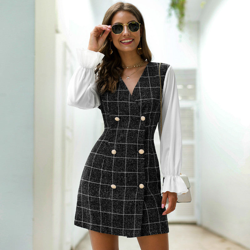 Double Breasted Plaid A Line Dress