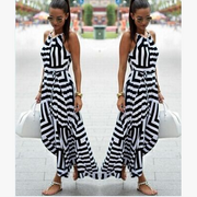 Stripe Spaghetti Strap O-neck Irregular Sleeveless Long Dress