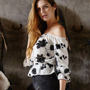 Off-shoulder Flower Print Strapless Loose Sexy Blouse - Meet Yours Fashion - 2