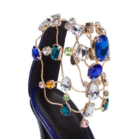 Luxurious Purple Rhinestone Ankle Wrap Heel Sandals with Plus Size - Meet Yours Fashion - 6