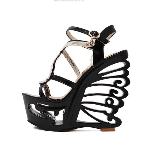 Sexy Hollow Out Platform High Wedge Sandals Club Shoes - MeetYoursFashion - 5