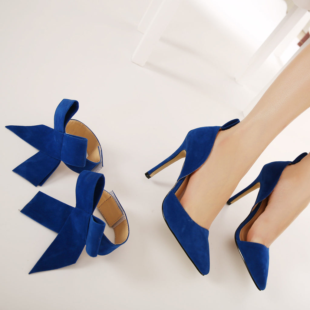 charming removable big bow high heel heels shoes
