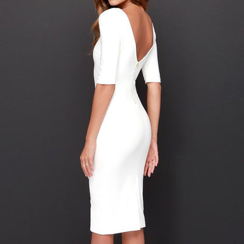 Pure Color Zipper Backless Half Sleeve Knee-length Dress