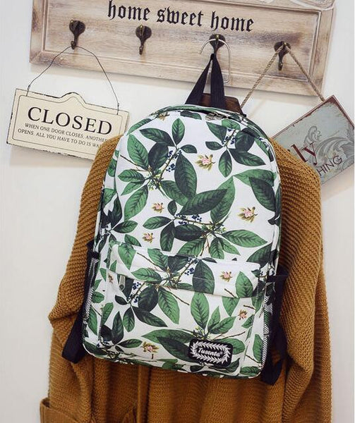 Green Leaves Print Fashion School Backpack - Meet Yours Fashion - 2