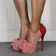 Red Suede Peep Toe Stripes High Heel Sandals