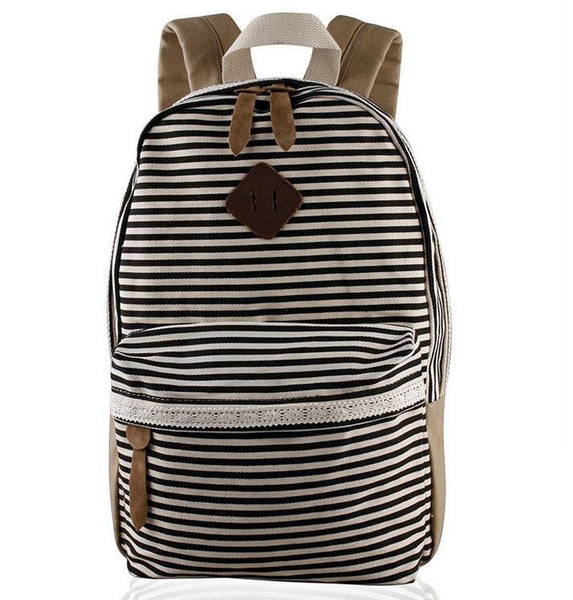 2016 Classical Stripe Lace Canvas Backpack - Meet Yours Fashion - 3