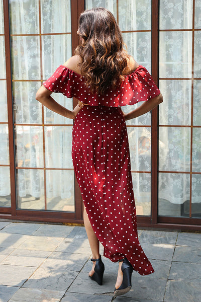 Dot Print Ruffles Crop Top with Split Long Skirt Two Pieces Dress Set
