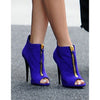 Zipper Decorate Peep-toe Stiletto High Heel Ankle Boot Sandals