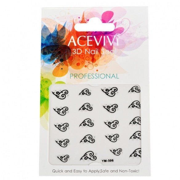 Acevivi New Fashion Women Professional Nail Care 3D Flower Nail Art??Manicure Fingernail Wraps Sticker Sheet