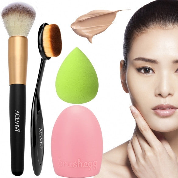 ACEVIVI Cosmetic Tool Makeup Face Powder/ Blush Brush + Puff Sponge + Makeup Brush Cleaner