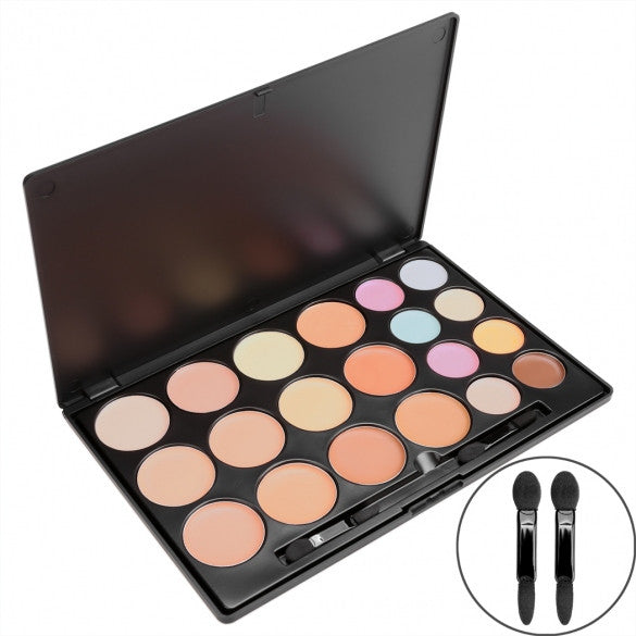 ACEVIVI 20 Colors Makeup Face Cream Concealer Palette + Powder Brush