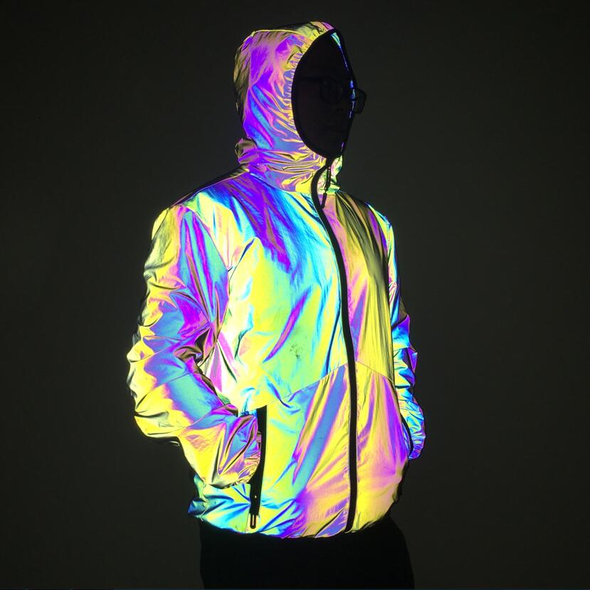 Autumn Winter Men Night Colorful Reflective Hooded Jacket Casual Windbreaker Man Hip Hop Jackets And Coats Drop Shipping