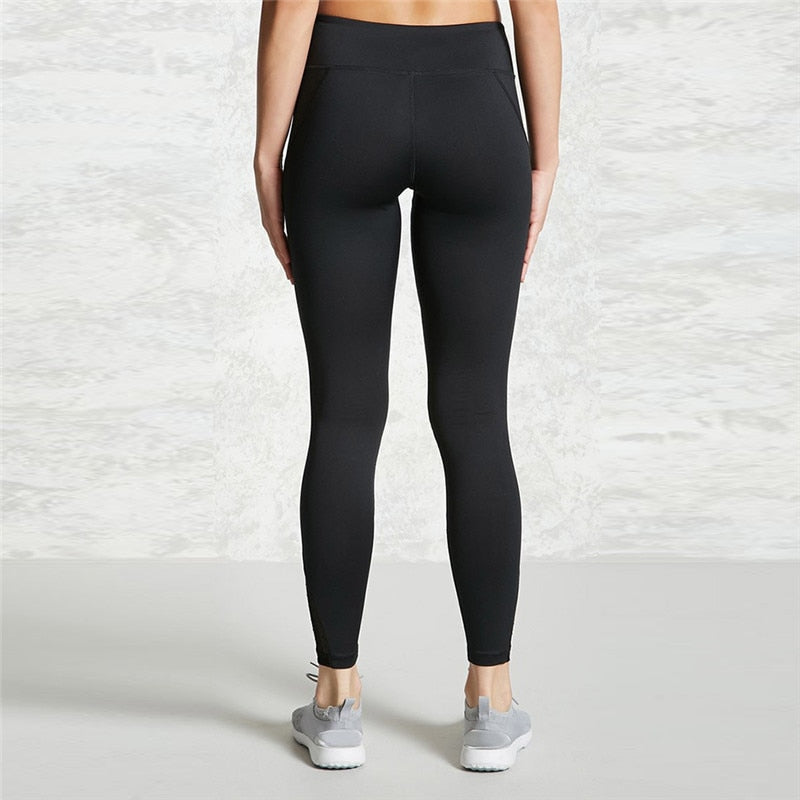 Sports Black High Waist Mesh Skinny Leggings Pants