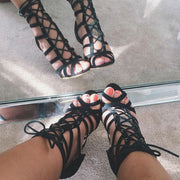 Cage Lace Up Single Sole Heels - Meet Yours Fashion - 4