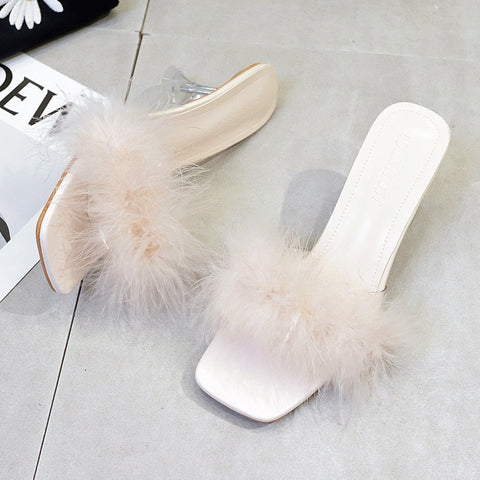 Fur PU Open Toe Slipper Sandals