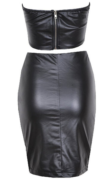 Artificial V-Neck Leather Bandage Bodycon Dress - MeetYoursFashion - 4