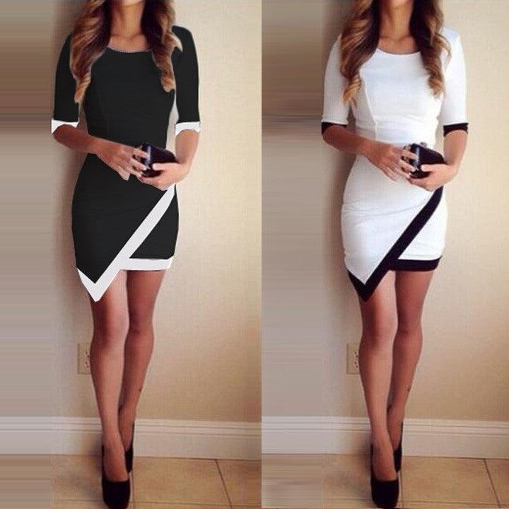 Asymmetric Patchwork Half Sleeve Bodycon Pencil Short Dress - MeetYoursFashion - 1