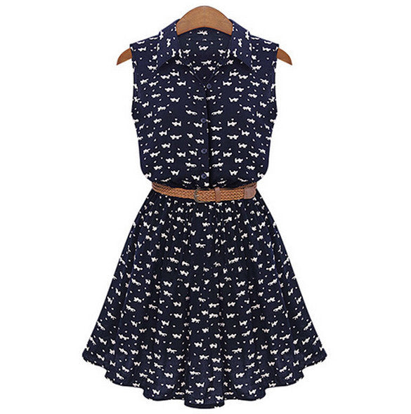 Floral A-line Print Lapel Collar Sundress with Belt Dress - MeetYoursFashion - 1