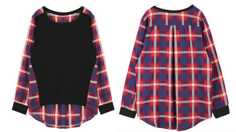 Plaid Long Sleeve Loose Blouse - MeetYoursFashion - 4
