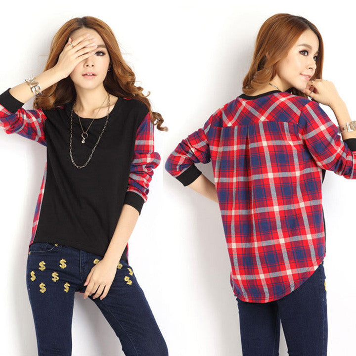 Plaid Long Sleeve Loose Blouse - MeetYoursFashion - 1