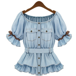 Faux Denim Women Butterfly Blouse Sashes Tops - MeetYoursFashion - 1