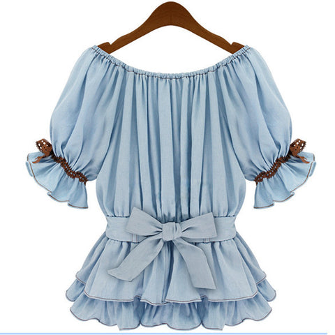Faux Denim Women Butterfly Blouse Sashes Tops - MeetYoursFashion - 3