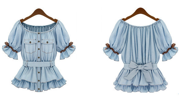 Faux Denim Women Butterfly Blouse Sashes Tops - MeetYoursFashion - 5