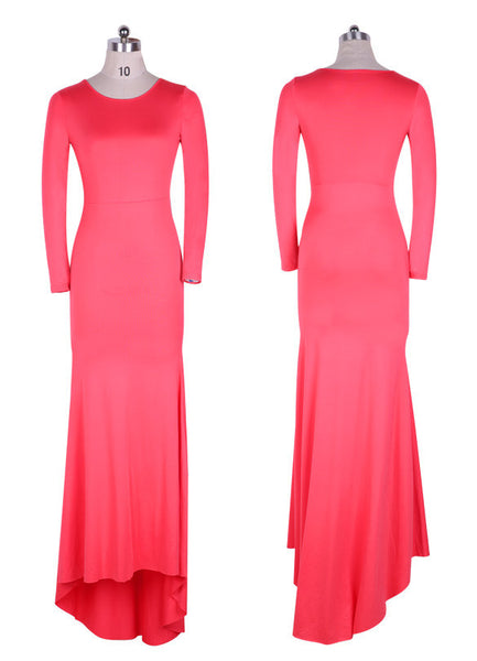 Long Sleeve Slim Bodycon Club Long Wedding Party Dress - MeetYoursFashion - 3