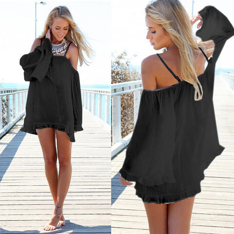 Off-shoulder Long-Sleeve Loose Chiffon Dress - MeetYoursFashion - 3