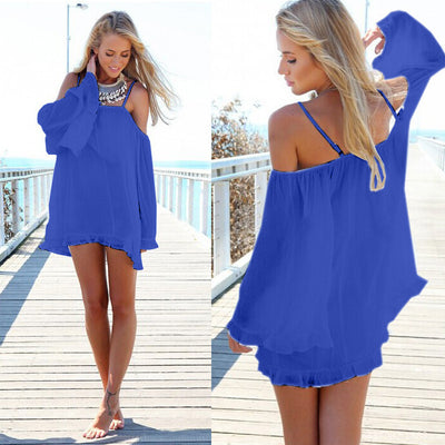 Off-shoulder Long-Sleeve Loose Chiffon Dress - MeetYoursFashion - 1