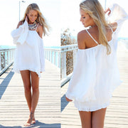 Off-shoulder Long-Sleeve Loose Chiffon Dress - MeetYoursFashion - 4