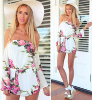 Floral Printed Off Shoulder Short Beach Jumpsuit - MeetYoursFashion - 6