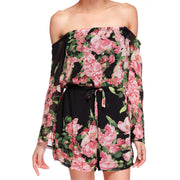 Floral Printed Off Shoulder Short Beach Jumpsuit - MeetYoursFashion - 3